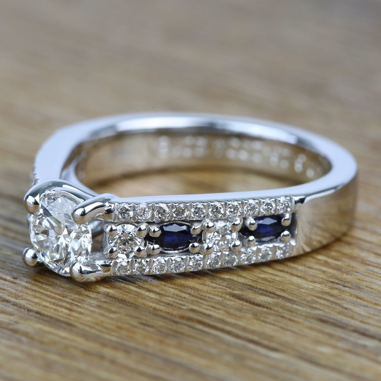 Round Custom Diamond & Sapphire Engagement Ring (0.59 Carat) angle 2
