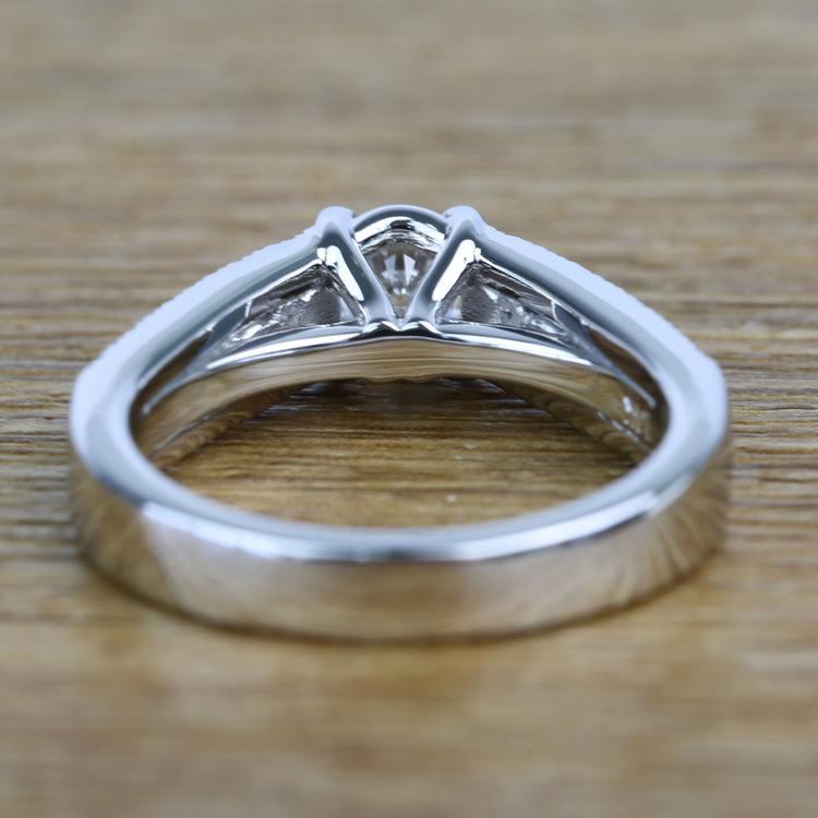 Round Custom Diamond & Sapphire Engagement Ring (0.59 Carat) angle 4