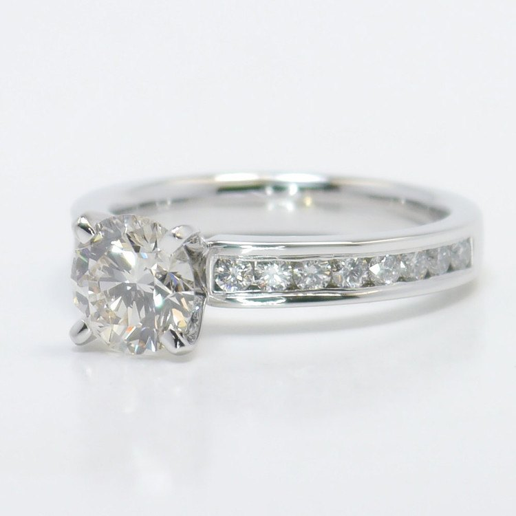 1.50 Carat Round Channel Diamond Engagement Ring angle 2