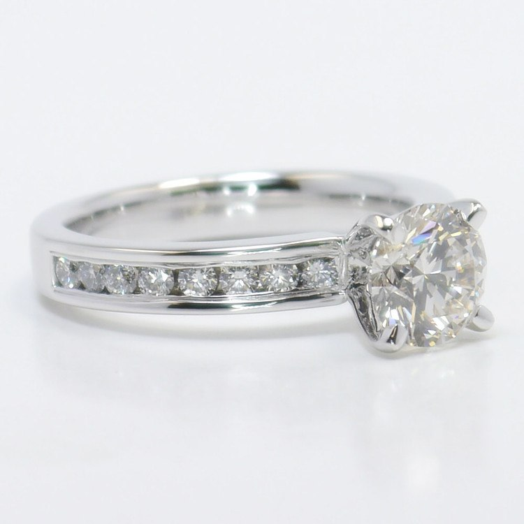 1.50 Carat Round Channel Diamond Engagement Ring angle 3