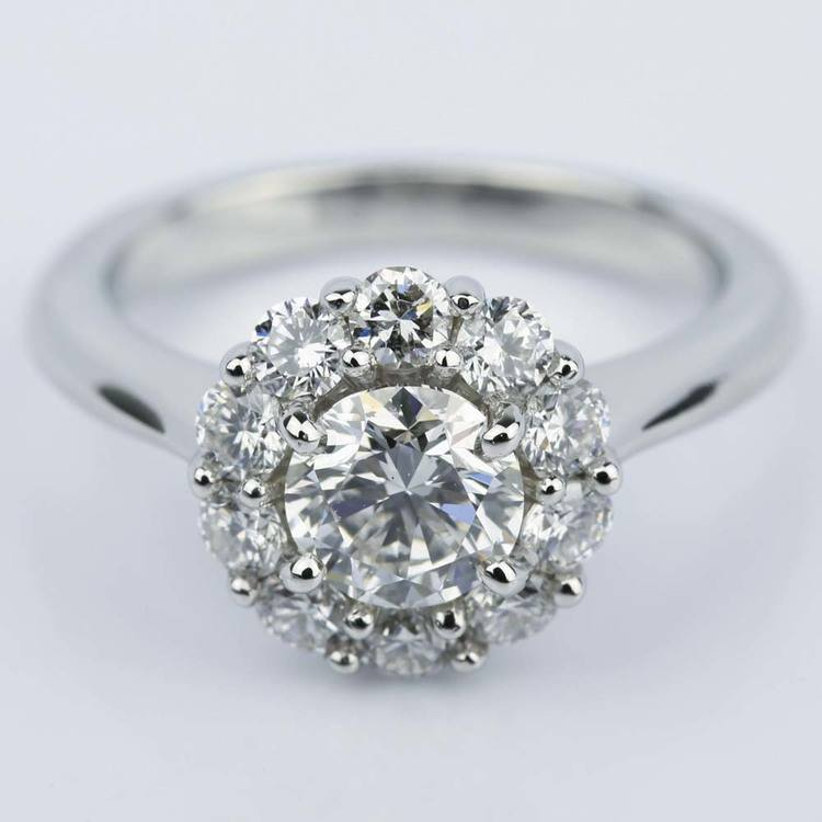 Round Cut Diamond Floral Halo Engagement Ring (0.90 ct.)