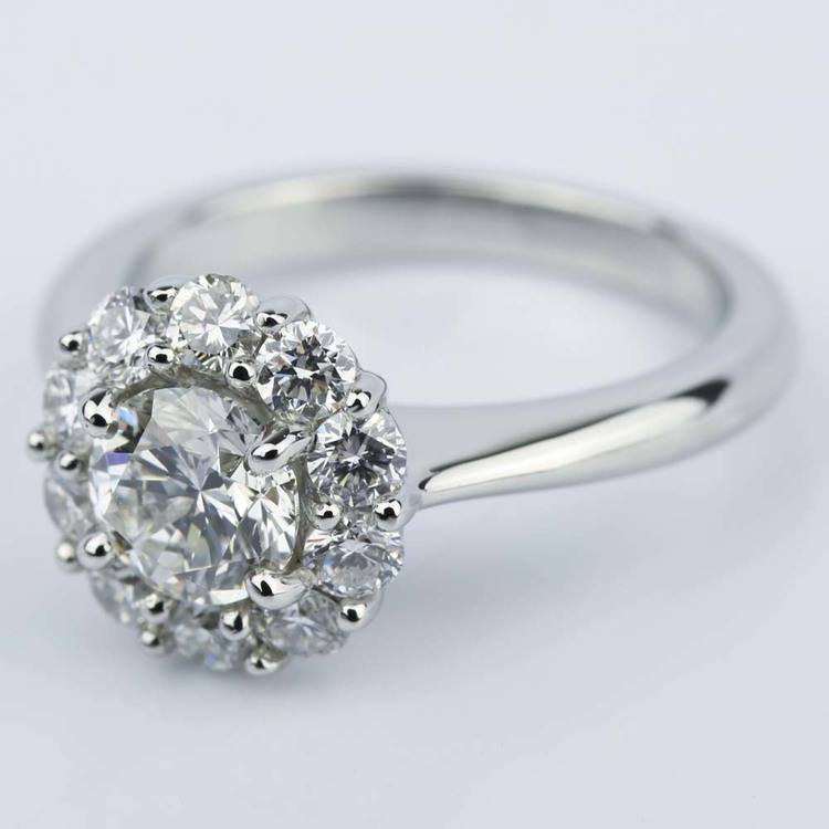Round Cut Diamond Floral Halo Engagement Ring 0 90 Ct