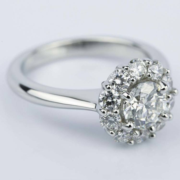 Round Cut Diamond Floral Halo Engagement Ring (0.90 ct.) angle 3