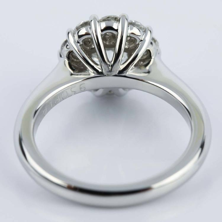 Round Cut Diamond Floral Halo Engagement Ring (0.90 ct.) angle 4
