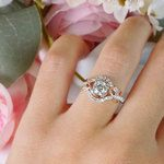 Round Diamond Cut Wrapping Vine Engagement Ring By Parade - small angle 5