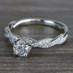 Round Diamond Modern Twist Design Engagement Ring - small angle 2