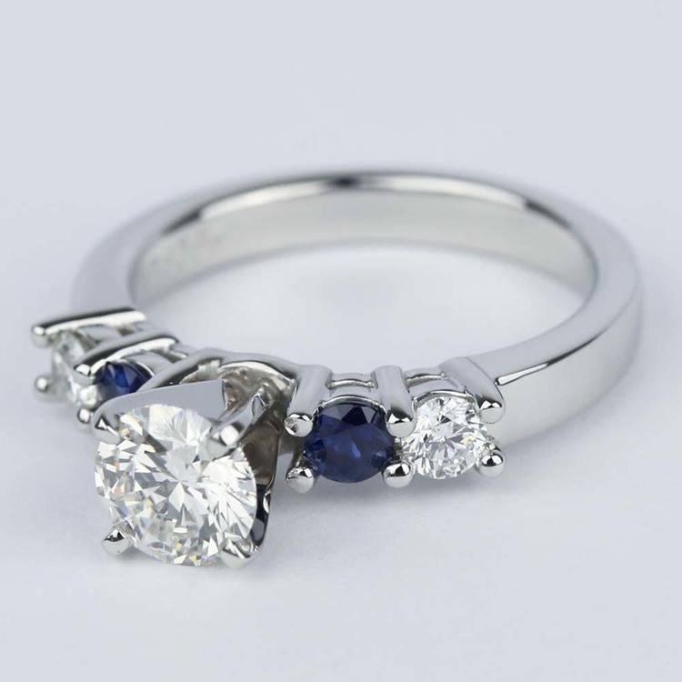 Round Diamond & Sapphire Gemstone Engagement Ring (0.90 ct.) angle 2