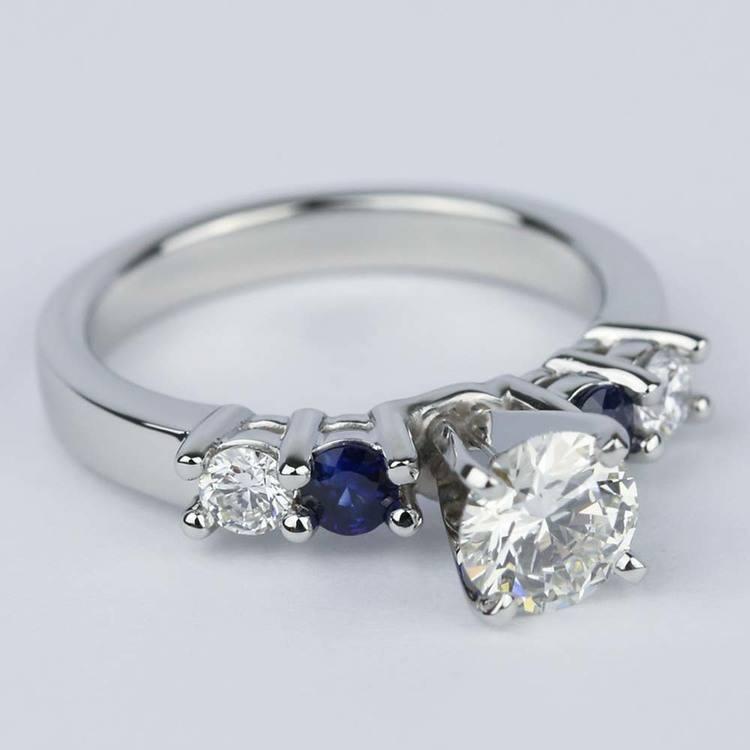 Round Diamond & Sapphire Gemstone Engagement Ring (0.90 ct.) angle 3