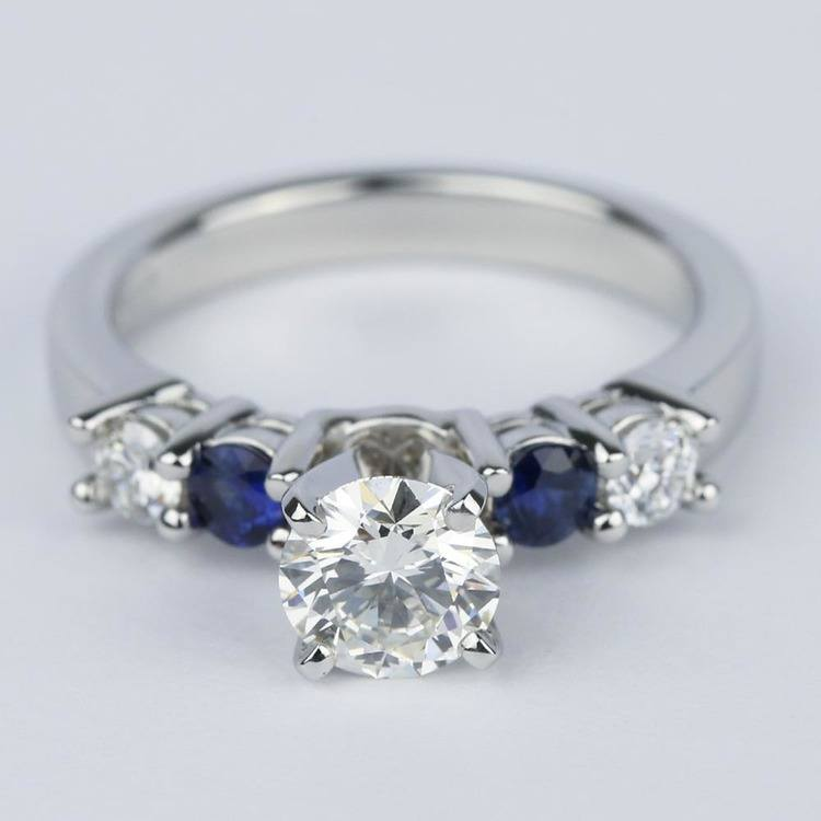 Round Diamond & Sapphire Gemstone Engagement Ring (0.90 ct.)