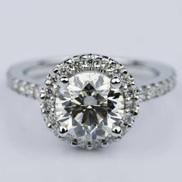 Round Ideal Cut Halo Diamond Engagement Ring (1.50 ct.)