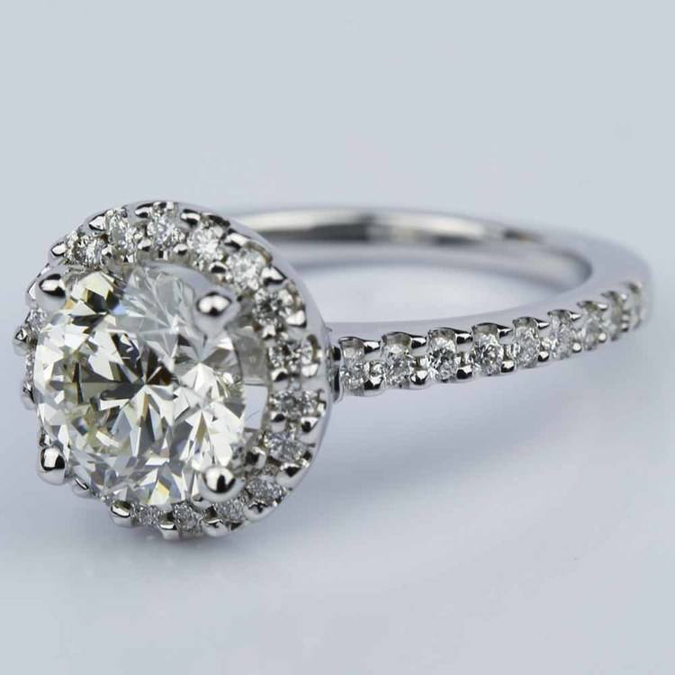 Round Ideal Cut Halo Diamond Engagement Ring (1.50 ct.) angle 2