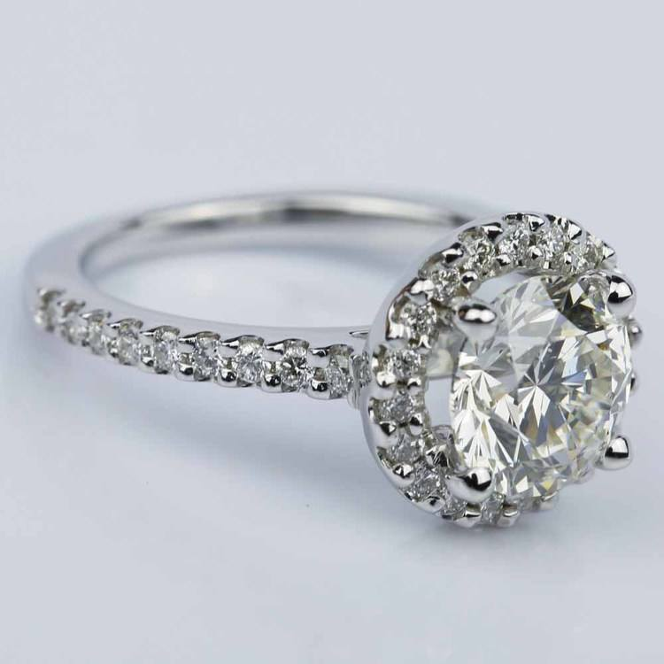 Round Ideal Cut Halo Diamond Engagement Ring (1.50 ct.) angle 3