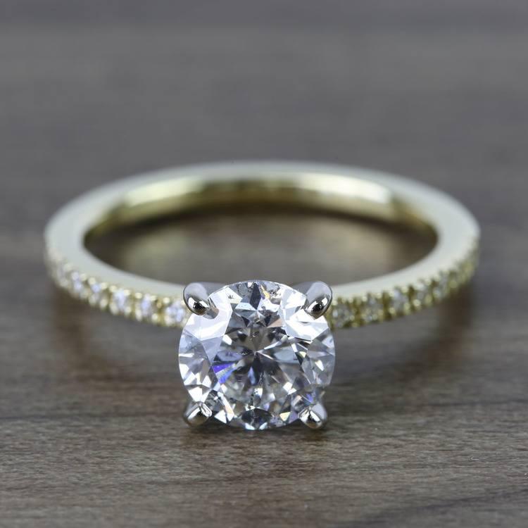 Round Petite Pave Diamond Engagement Ring (1.76 Carat)