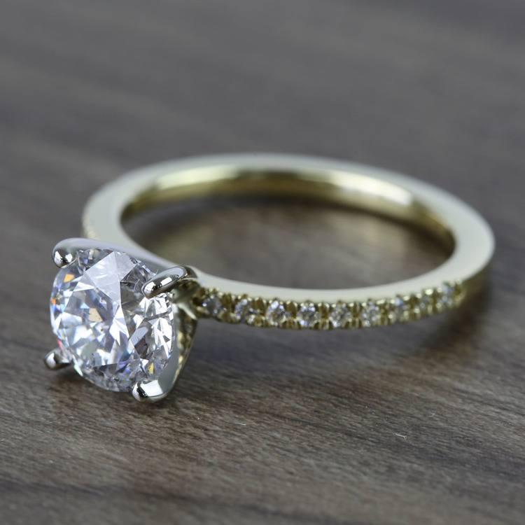 Round Petite Pave Diamond Engagement Ring (1.76 Carat) angle 2