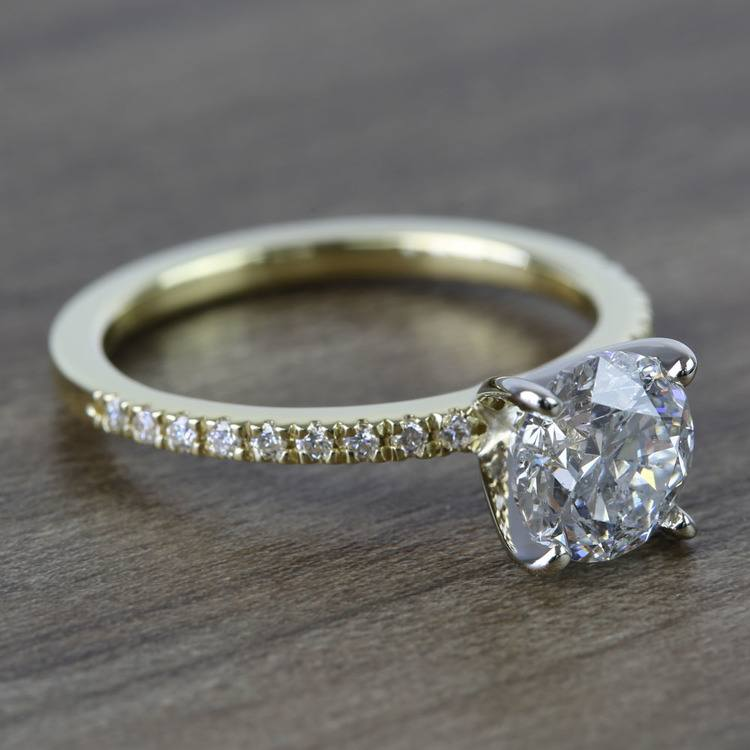 Round Petite Pave Diamond Engagement Ring (1.76 Carat) angle 3