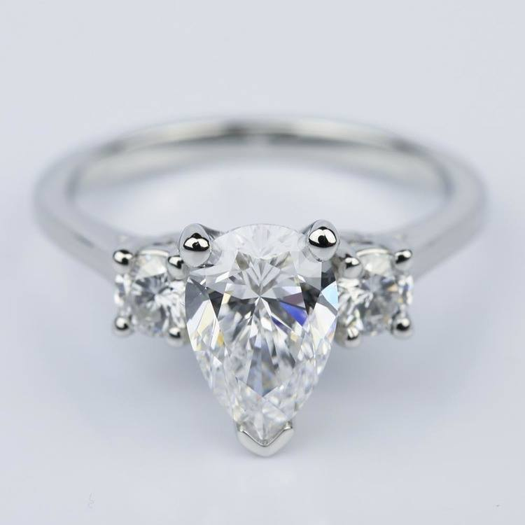 Round Trellis Three Stone Engagement Ring with Pear Center