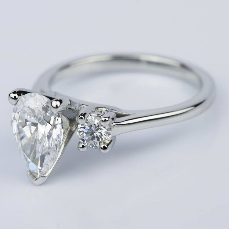 Round Trellis Three Stone Engagement Ring with Pear Center angle 2