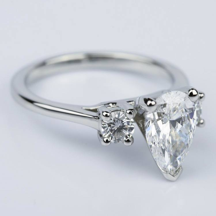 Round Trellis Three Stone Engagement Ring with Pear Center angle 3