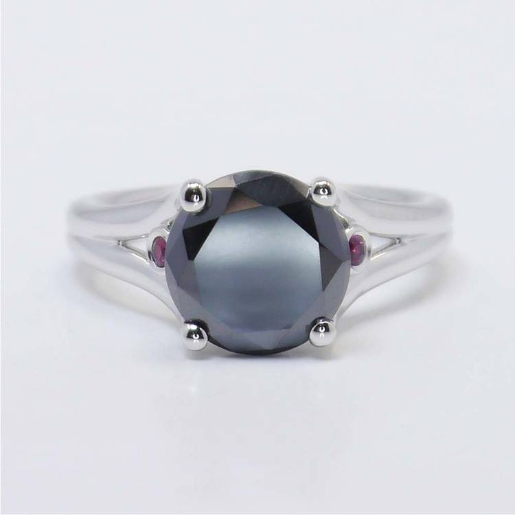 3 Carat Black Diamond Ring with Ruby Accents