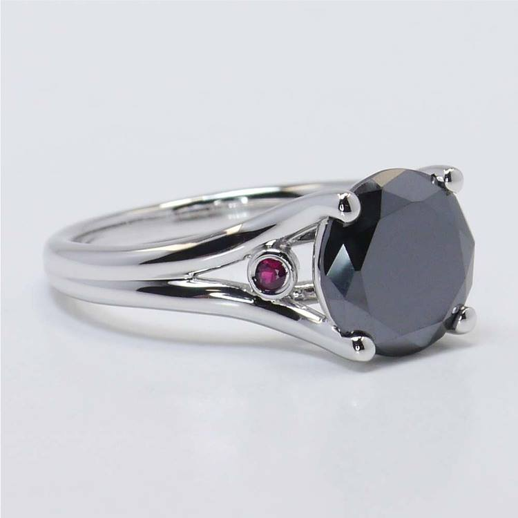 3 Carat Black Diamond Ring with Ruby Accents angle 2