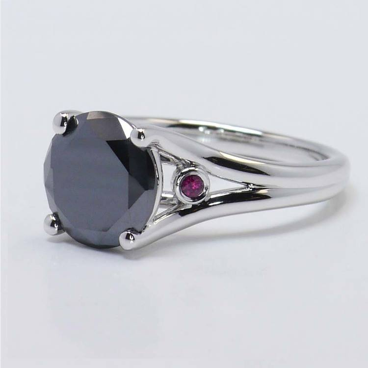 3 Carat Black Diamond Ring with Ruby Accents angle 3