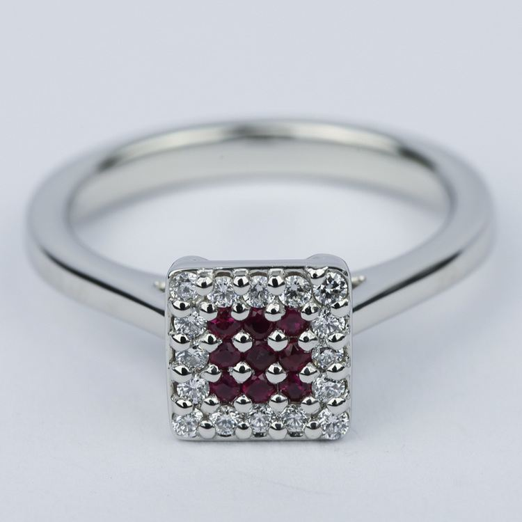 Ruby and Diamond Cluster Engagement Ring in Platinum