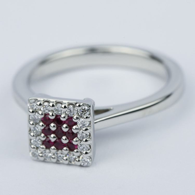 Ruby and Diamond Cluster Engagement Ring in Platinum angle 2