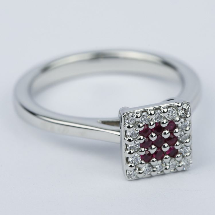 Ruby and Diamond Cluster Engagement Ring in Platinum angle 3