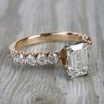 Ruby Gemstone Touch Emerald Cut Diamond Engagement Ring - small angle 3