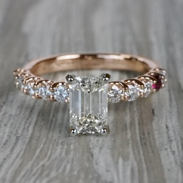 Ruby Gemstone Touch Emerald Cut Diamond Engagement Ring