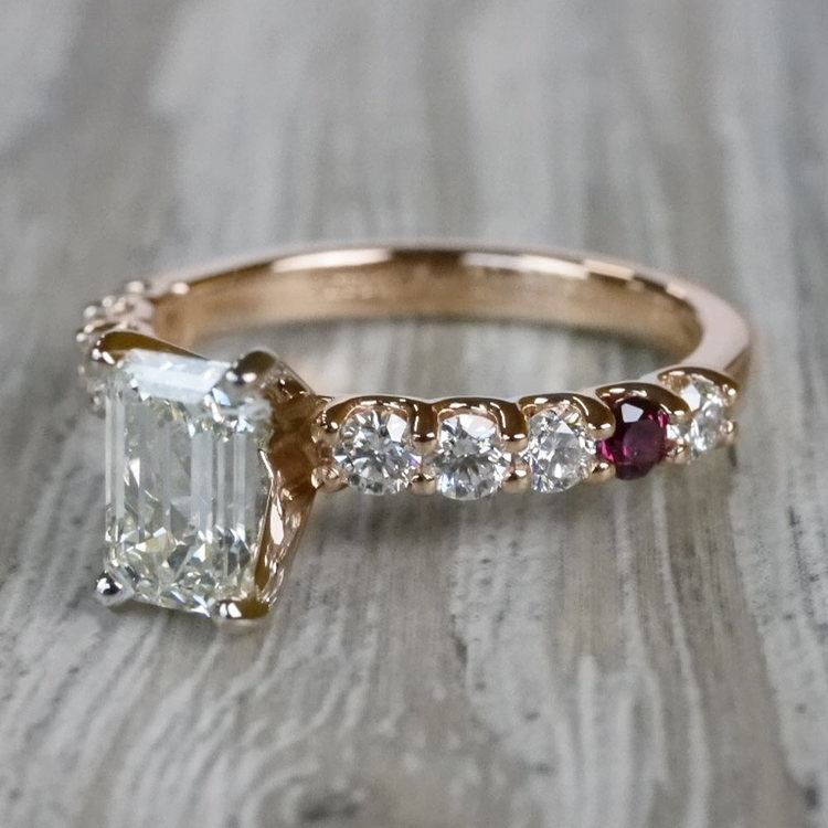 Ruby Gemstone Touch Emerald Cut Diamond Engagement Ring angle 2