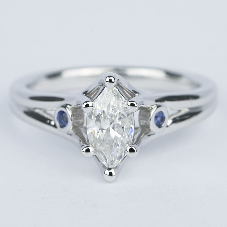 Marquise Diamond Engagement Ring with Sapphire Accents (.70 Carat)