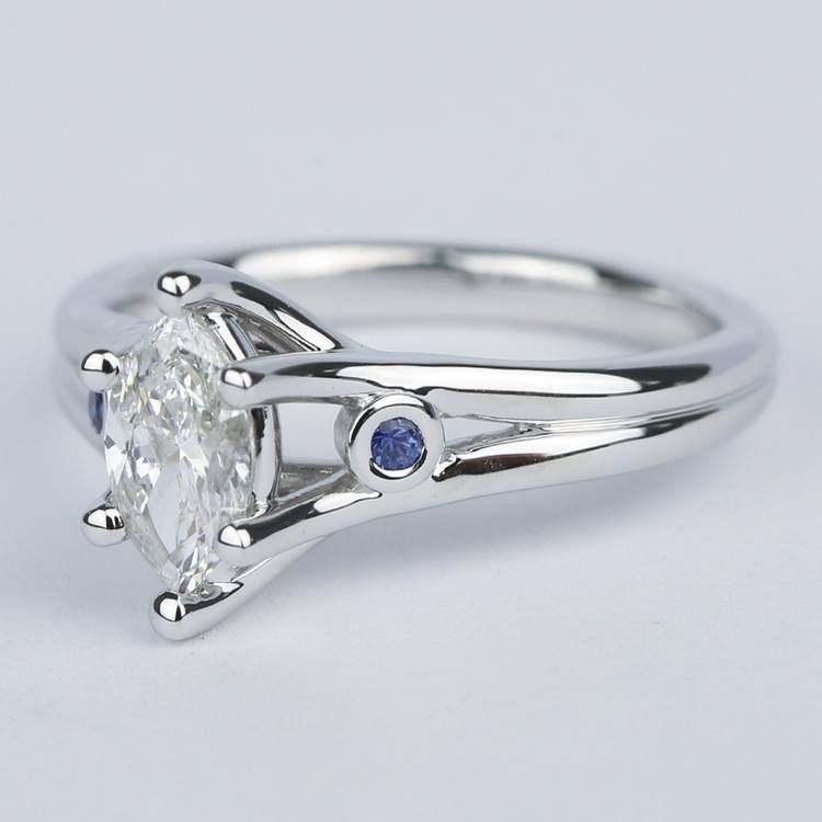 Marquise Diamond Engagement Ring with Sapphire Accents (.70 Carat) angle 2