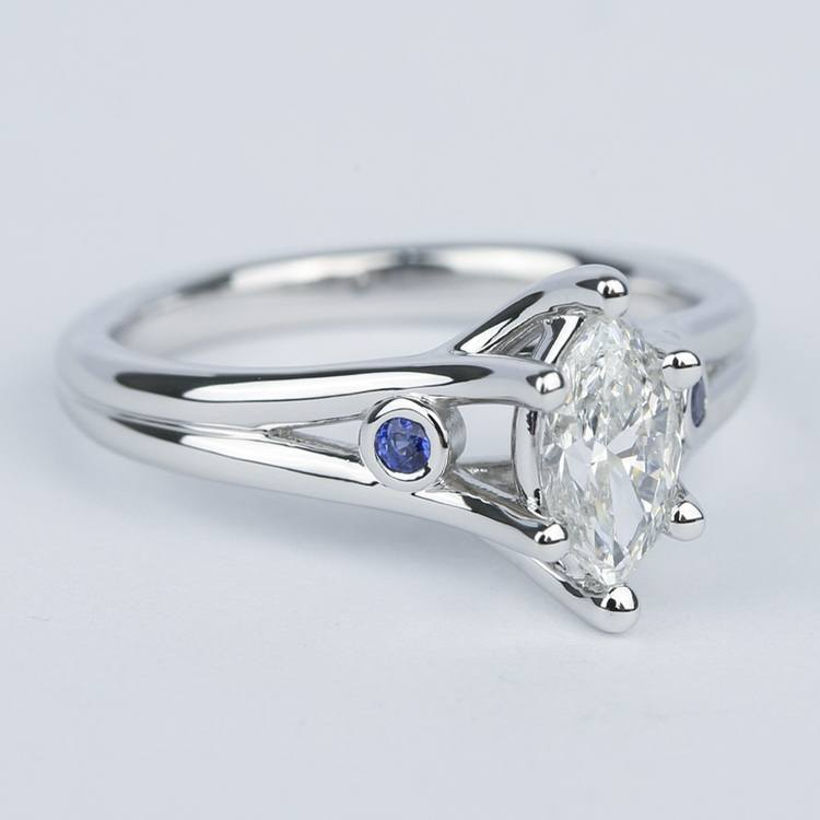 Marquise Diamond Engagement Ring With Sapphire Accents 70 Carat