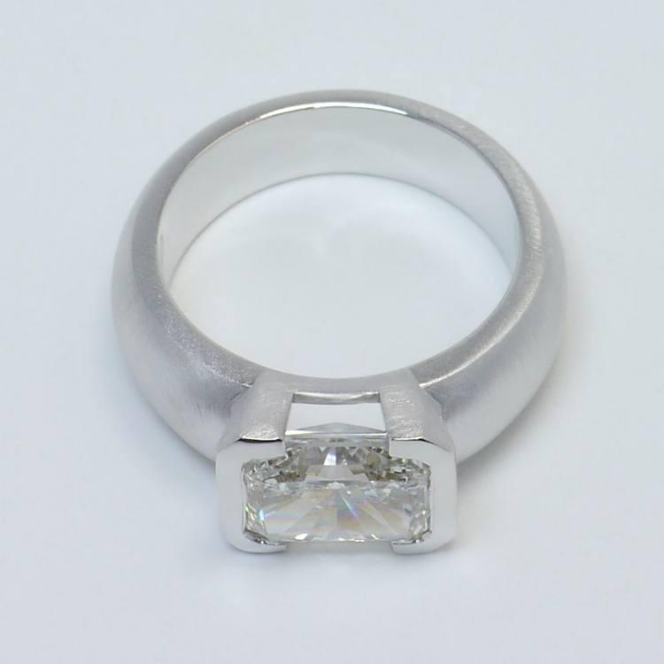 2.8 Carat Half-Bezel Radiant Solitaire Diamond Engagement Ring angle 4