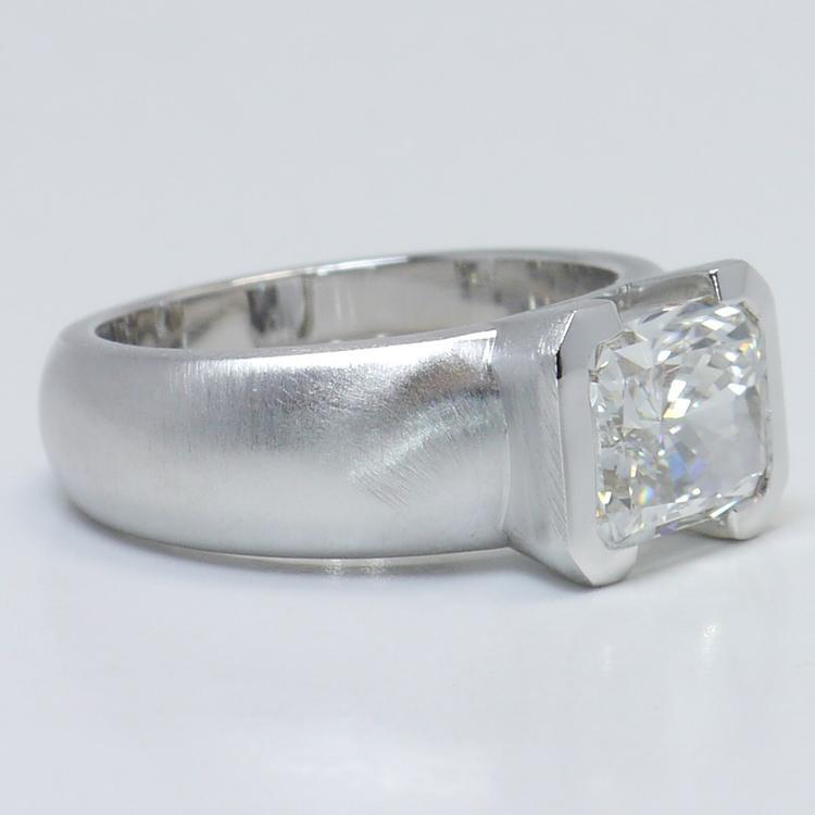 2.8 Carat Half-Bezel Radiant Solitaire Diamond Engagement Ring angle 3