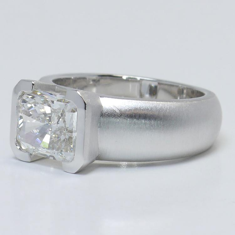2.8 Carat Half-Bezel Radiant Solitaire Diamond Engagement Ring angle 2