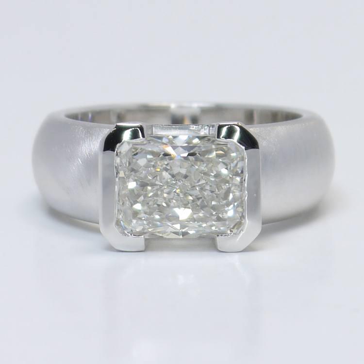 2.8 Carat Half-Bezel Radiant Solitaire Diamond Engagement Ring