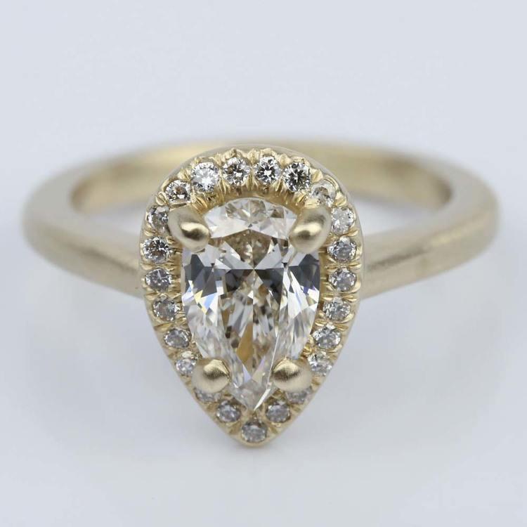 Satin-Finish Halo Engagement Ring with Pear Diamond