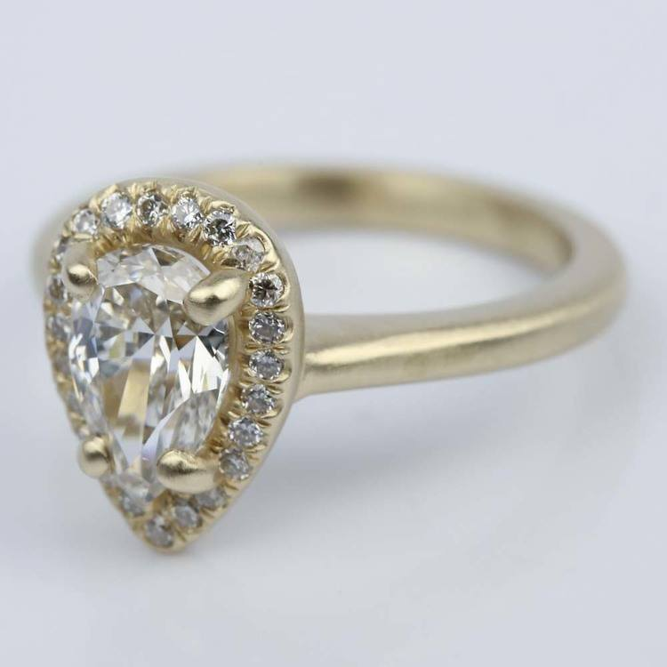 Satin-Finish Halo Engagement Ring with Pear Diamond angle 2