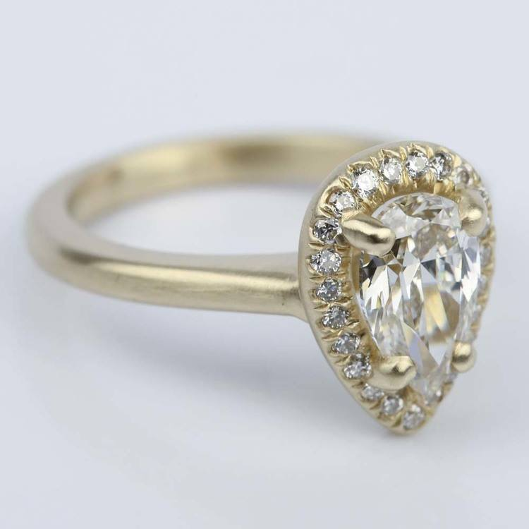 Satin-Finish Halo Engagement Ring with Pear Diamond angle 3