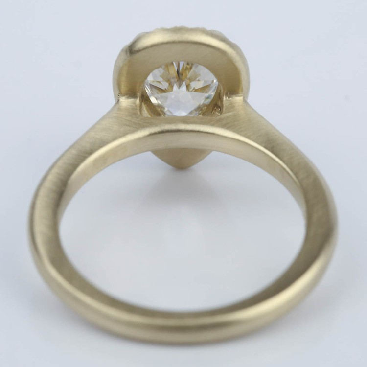 Satin-Finish Halo Engagement Ring with Pear Diamond angle 4