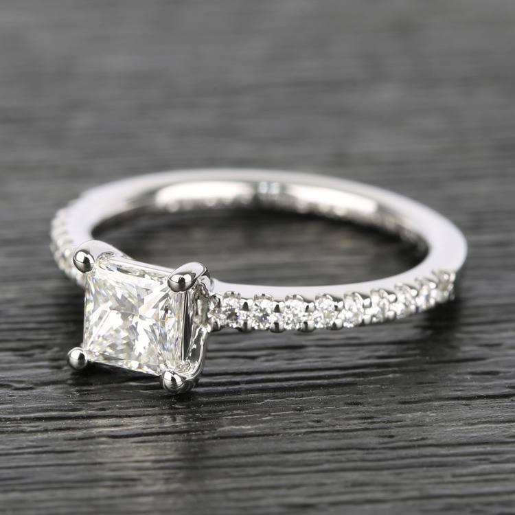 Scallop 0.63 Carat Princess Diamond Engagement Ring  angle 2