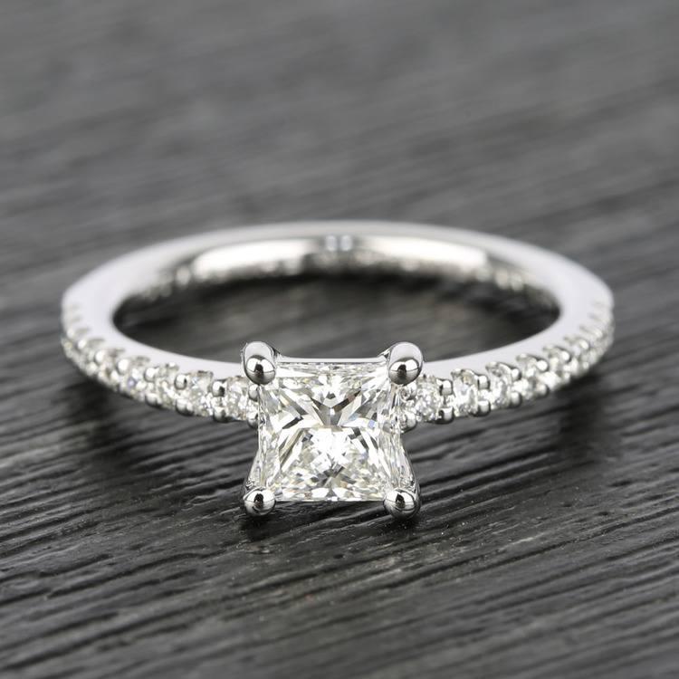 Scallop 0.63 Carat Princess Diamond Engagement Ring