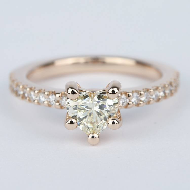 Heart Diamond Engagement Ring with Rose Gold Scallop Pave