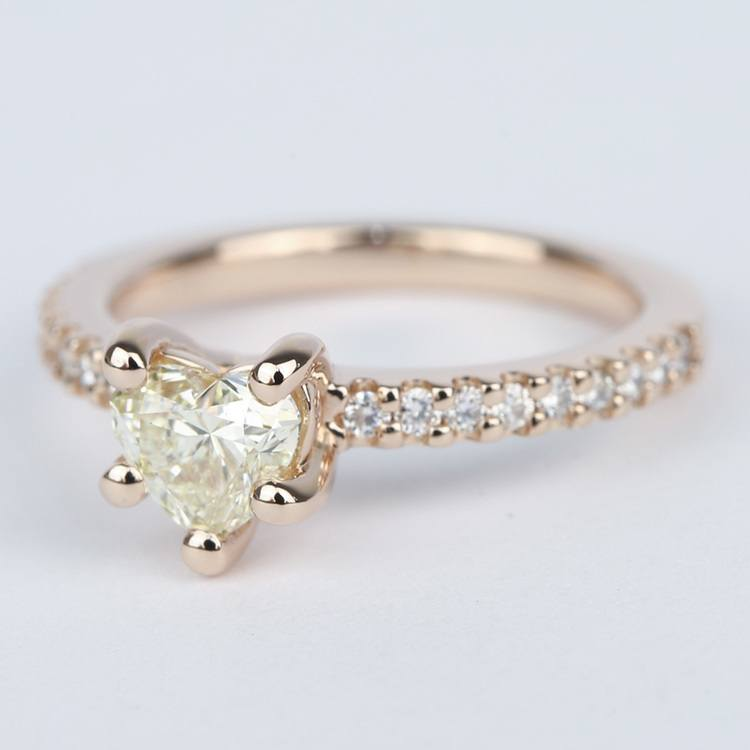 Heart Diamond Engagement Ring with Rose Gold Scallop Pave angle 2