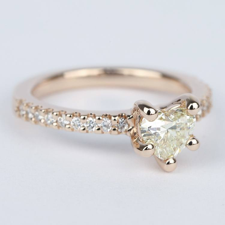 Heart Diamond Engagement Ring with Rose Gold Scallop Pave angle 3