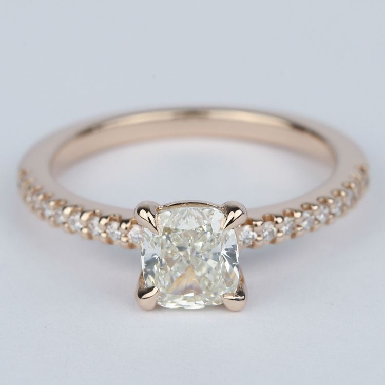 Scallop Cushion Diamond Engagement Ring with Claw Prongs