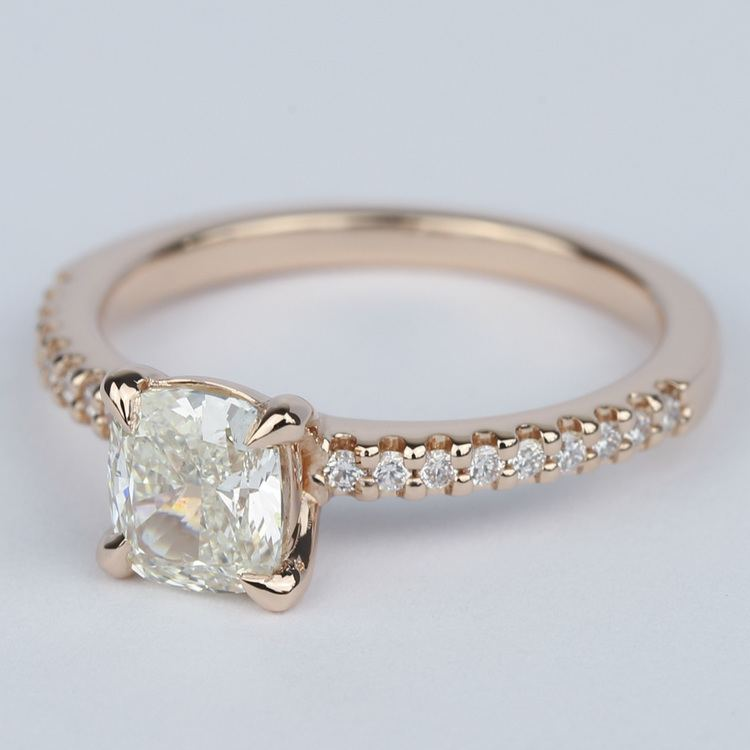 Scallop Cushion Diamond Engagement Ring with Claw Prongs angle 2