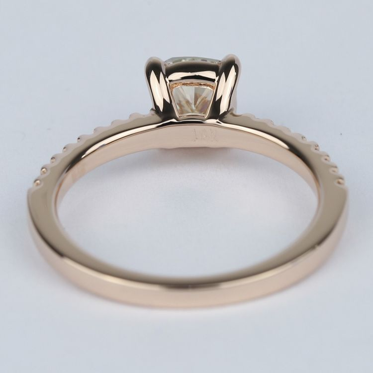 Scallop Cushion Diamond Engagement Ring with Claw Prongs angle 4